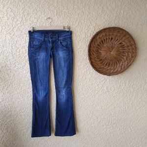 Hudson flap pocket  bootcut jeans with distressing